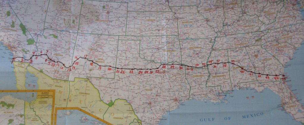 My Bicycling Route Across America - Map of southern tier of us